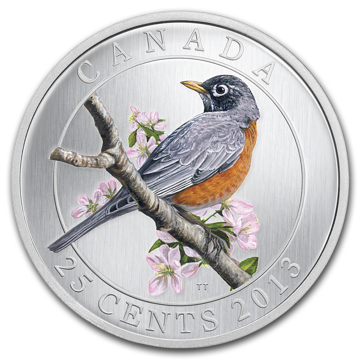 2013 Birds of Canada $0.25 American Robin (Colored)