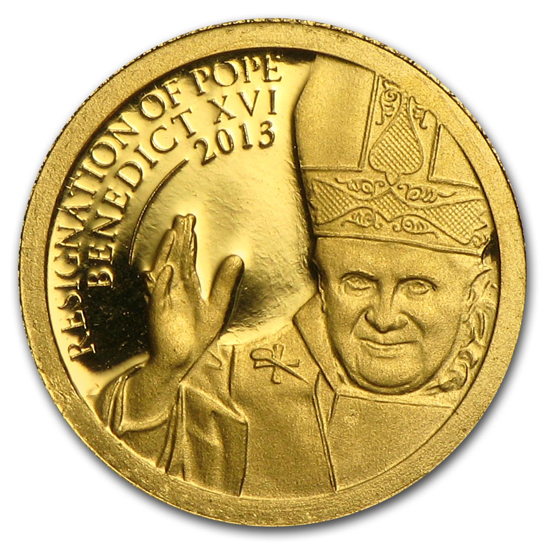 2013 Cook Islands Gold 1 Resignation Of Pope Benedict Xvi