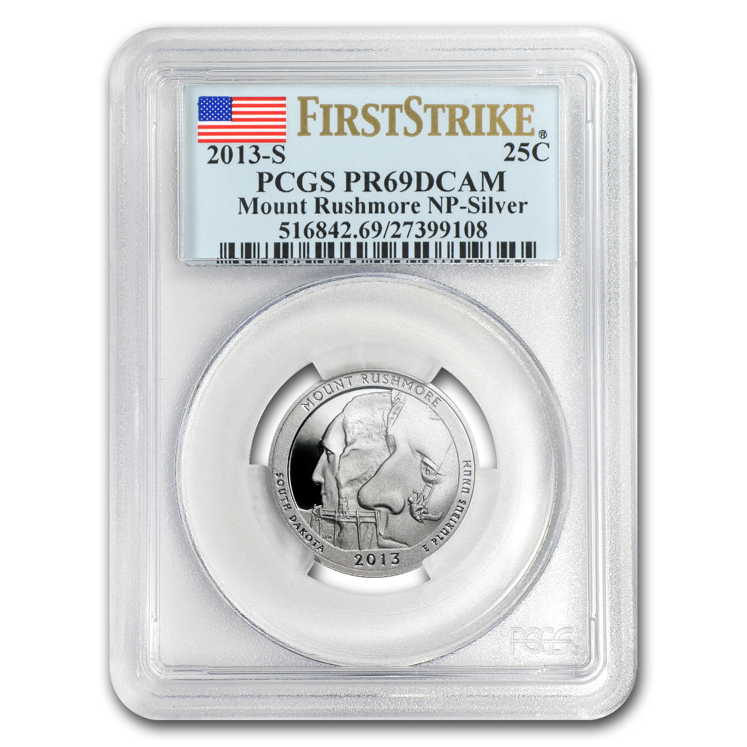 2013-S Silver Proof Quarter ATB Mount Rushmore PR-69 DCAM (FS)