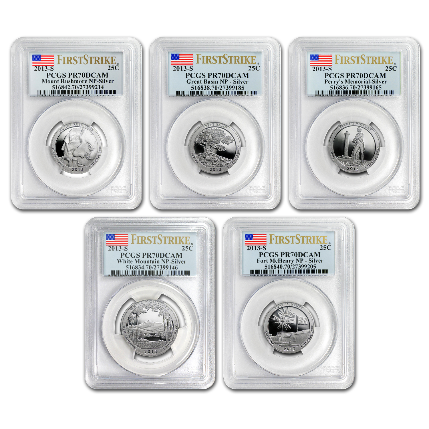 2013-S Silver Proof Quarter ATB PR-70 DCAM (FS) SET