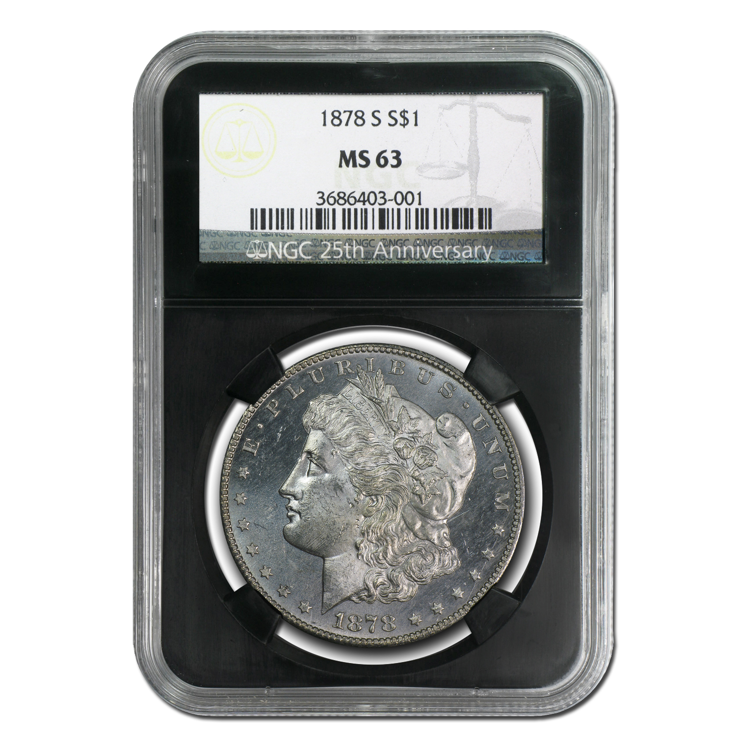 1878-S Morgan Dollar MS-63 NGC (Black Holder, 25th Anniv)