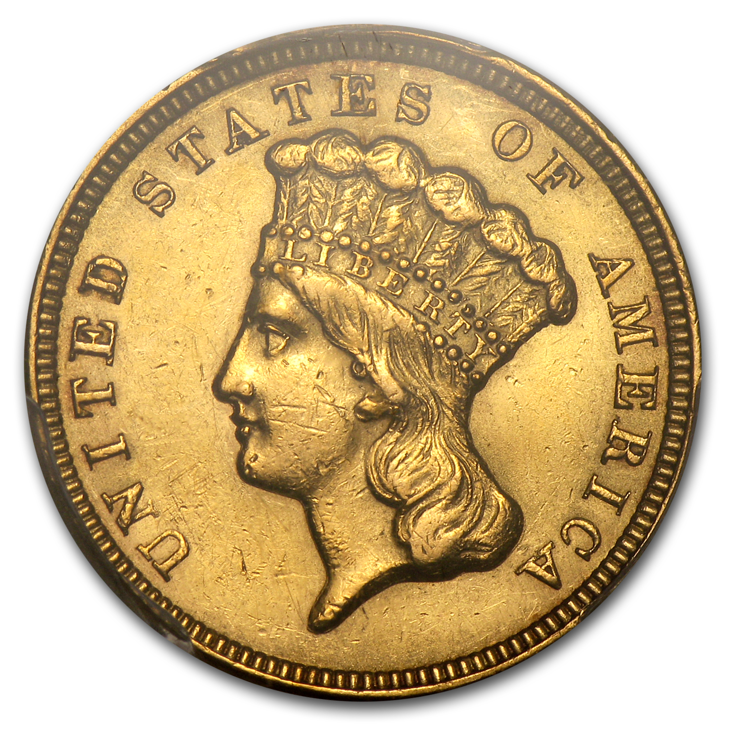 1856 $3 Gold Princess AU Details PCGS (Cleaned)
