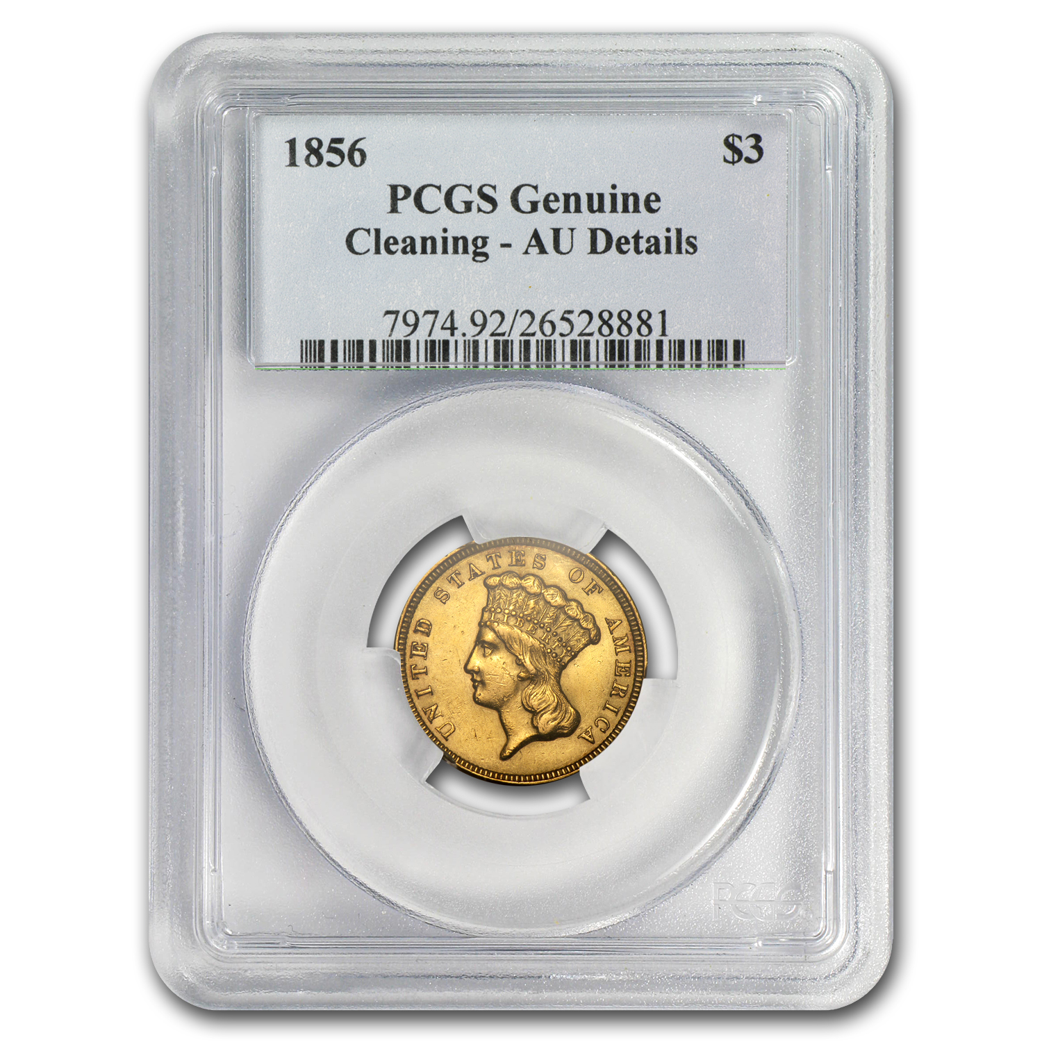 1856 $3 Gold Princess - AU Details - PCGS - (Cleaned)