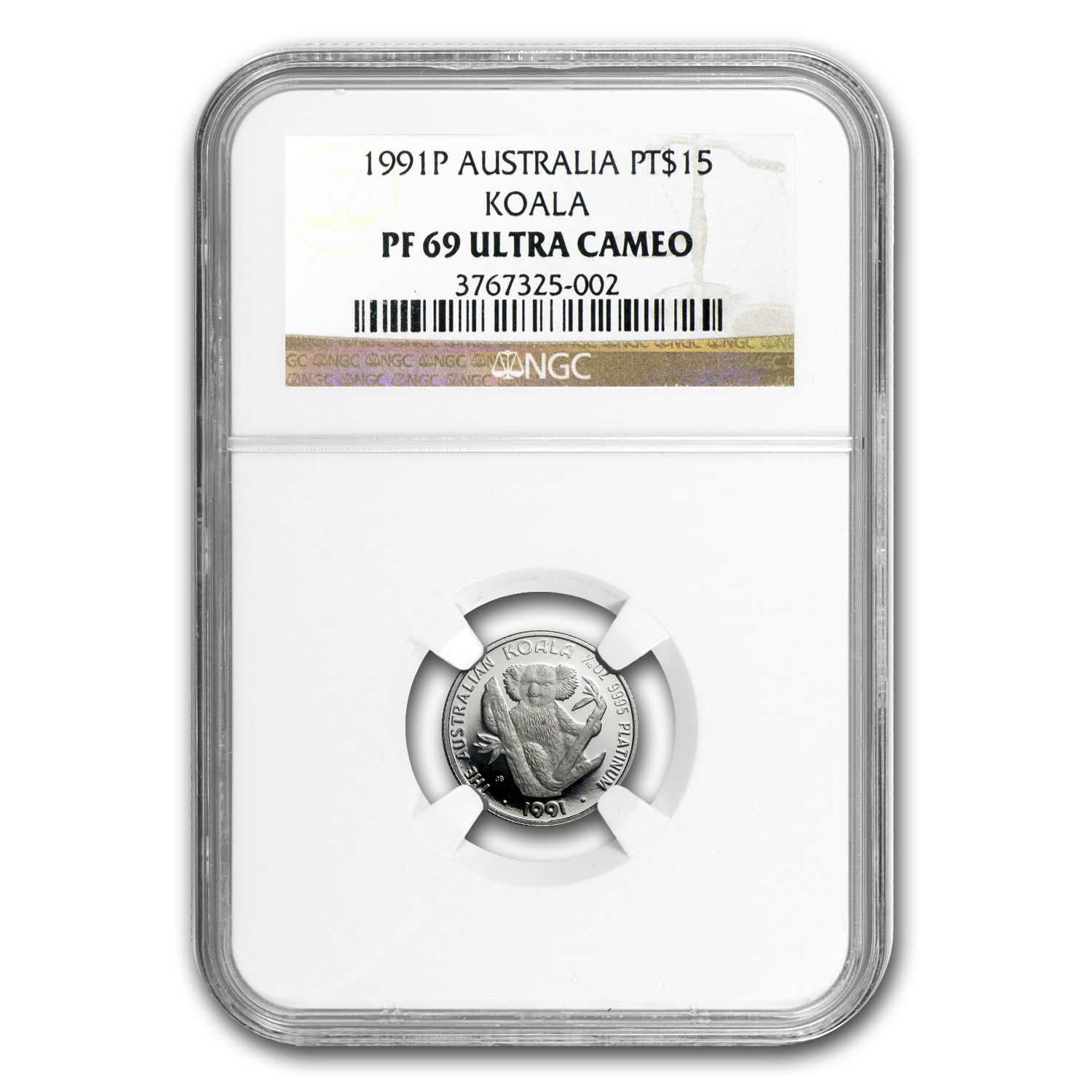 1991 Australia 1/10 oz Proof Platinum Koala PF-69 NGC