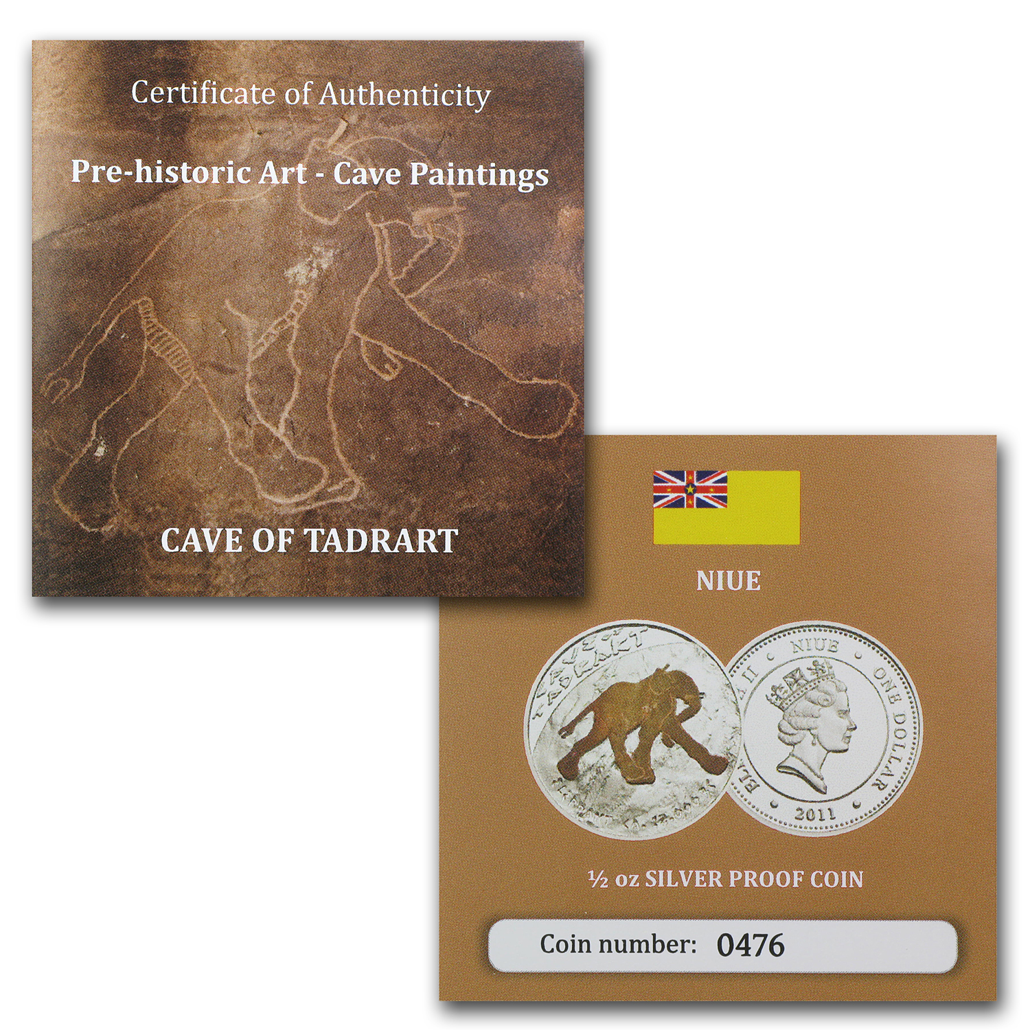 2011 Niue Proof Silver $1 Prehistoric Art Cave Paintings-Elephant