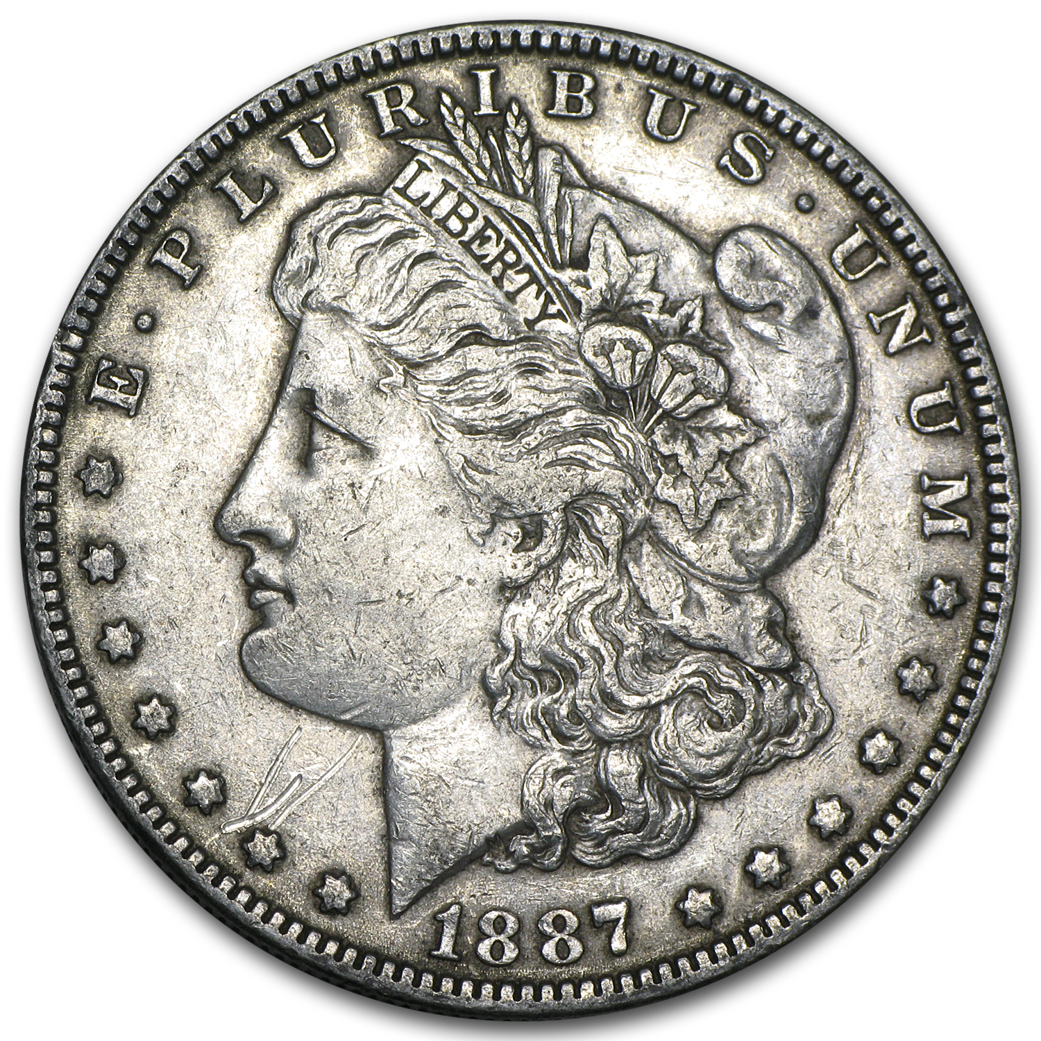 1887 Morgan Dollar Extra Fine VAM-1A Donkey Tail Top-100