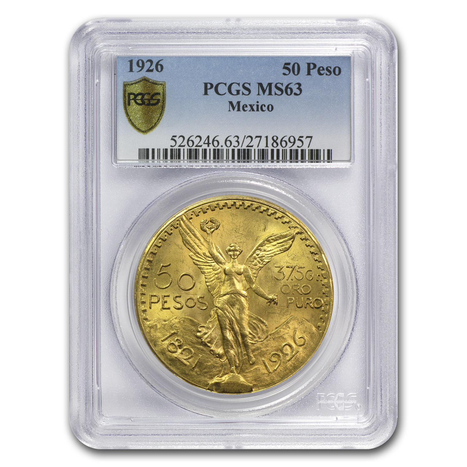 Mexico 1926 50 Pesos Gold Coin - MS-63 PCGS (Secure Plus!)