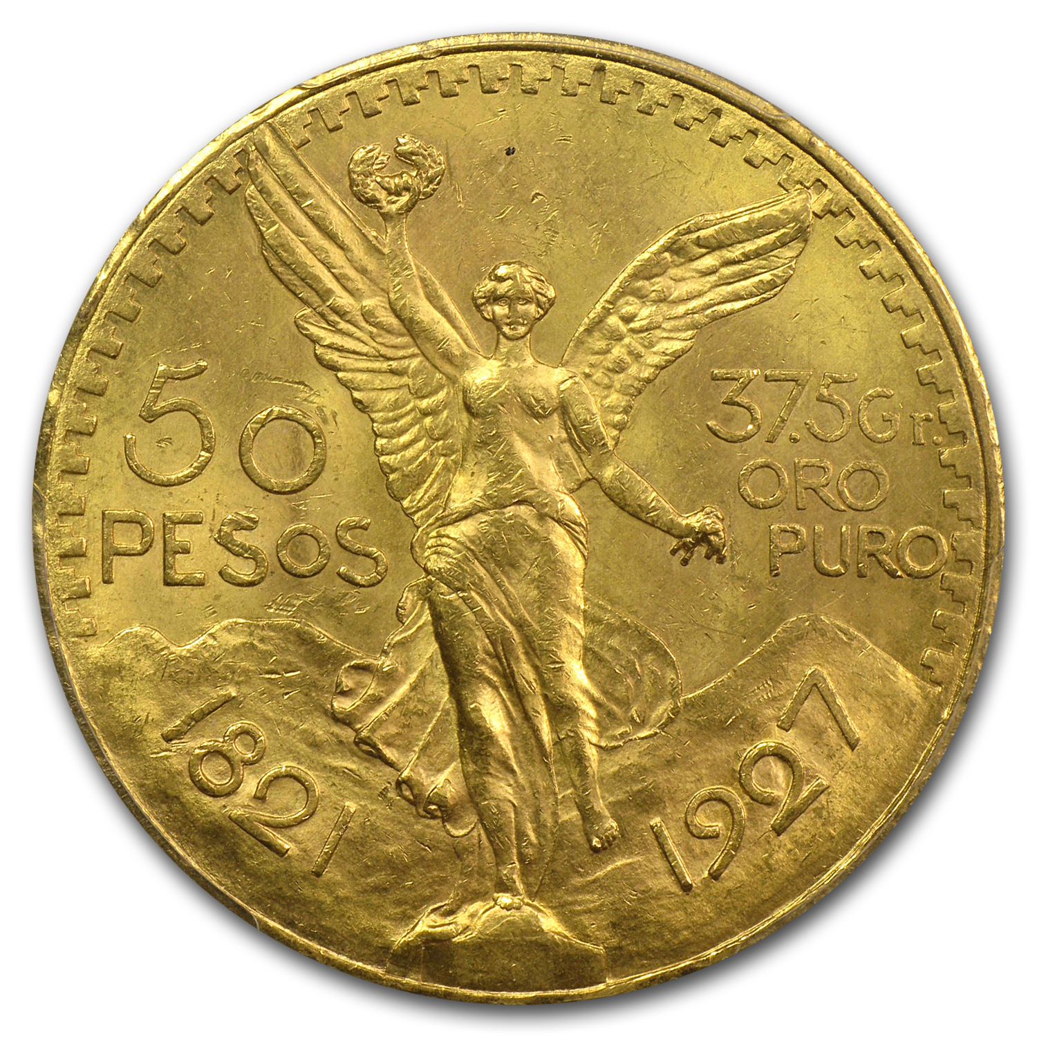Mexico 1927 50 Pesos Gold MS-63 PCGS (Secure Plus)