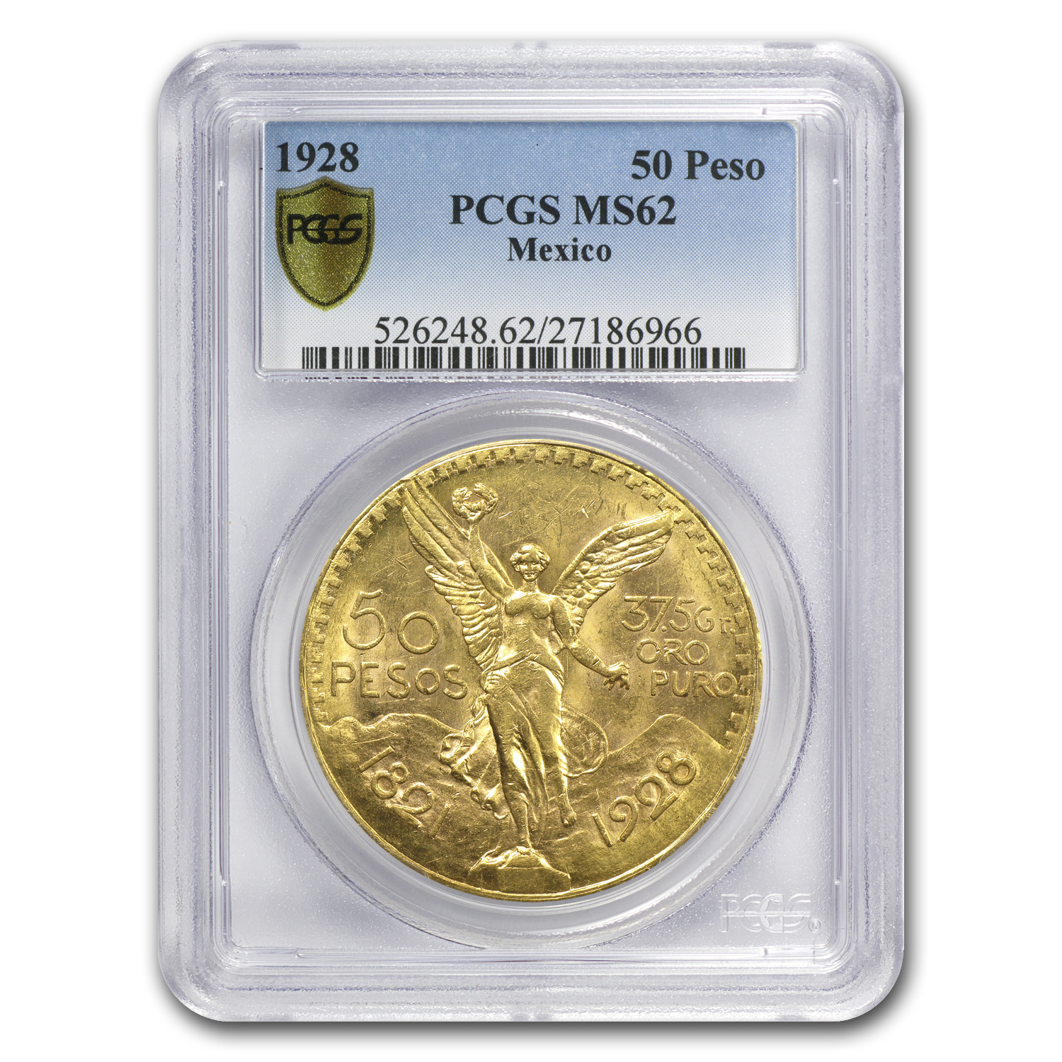 Mexico 1928 50 Pesos Gold Coin - MS-62 PCGS (Secure Plus!)
