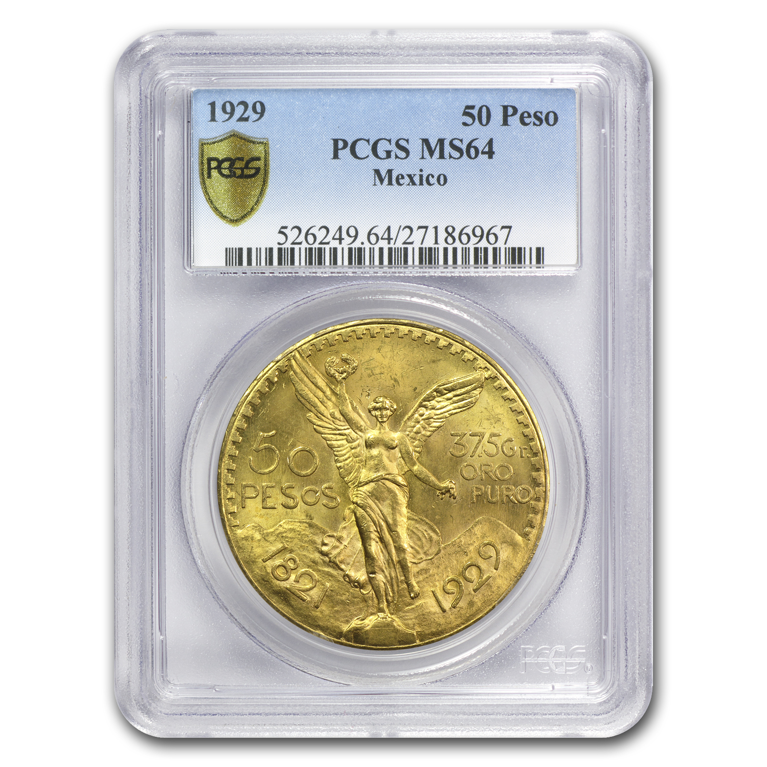1929 Mexico Gold 50 Pesos MS-64 PCGS