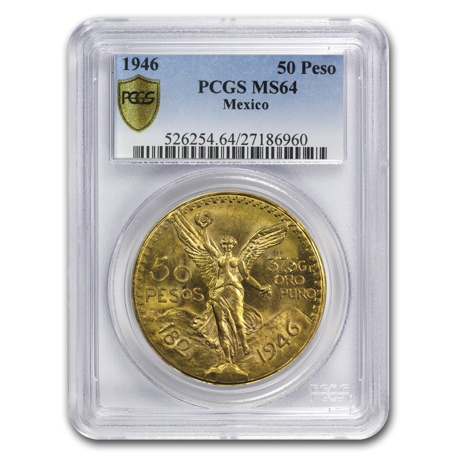 1946 Mexico Gold 50 Pesos MS-64 PCGS (Secure Plus)