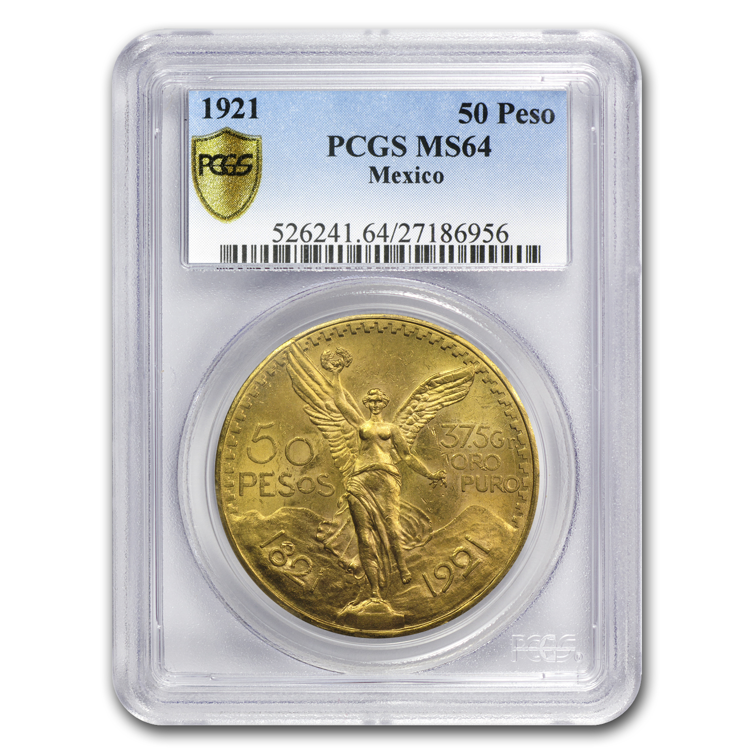 Mexico 1921 50 Pesos Gold Coin - MS-64 PCGS