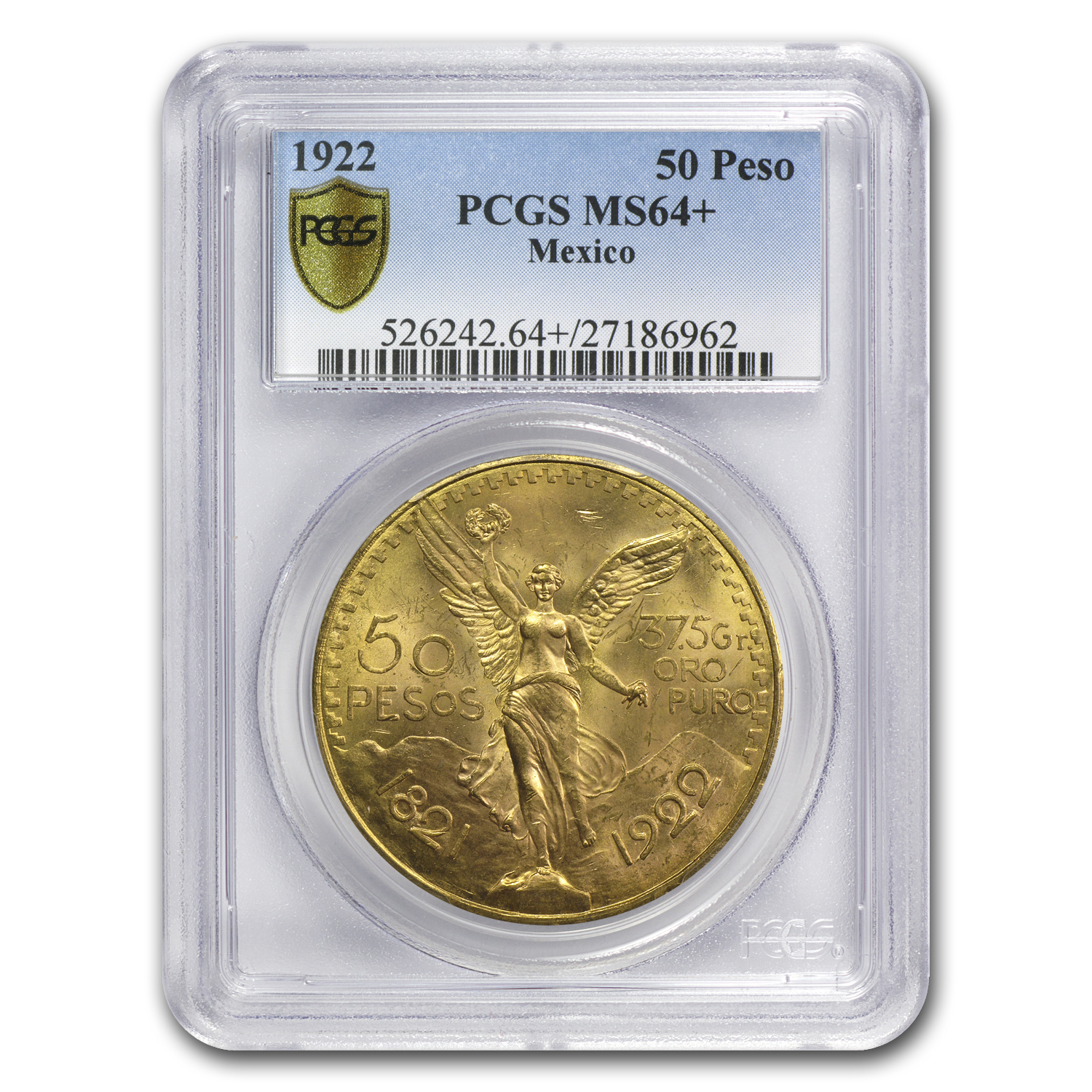 1922 Mexico Gold 50 Pesos MS-64+ PCGS (Secure Plus)