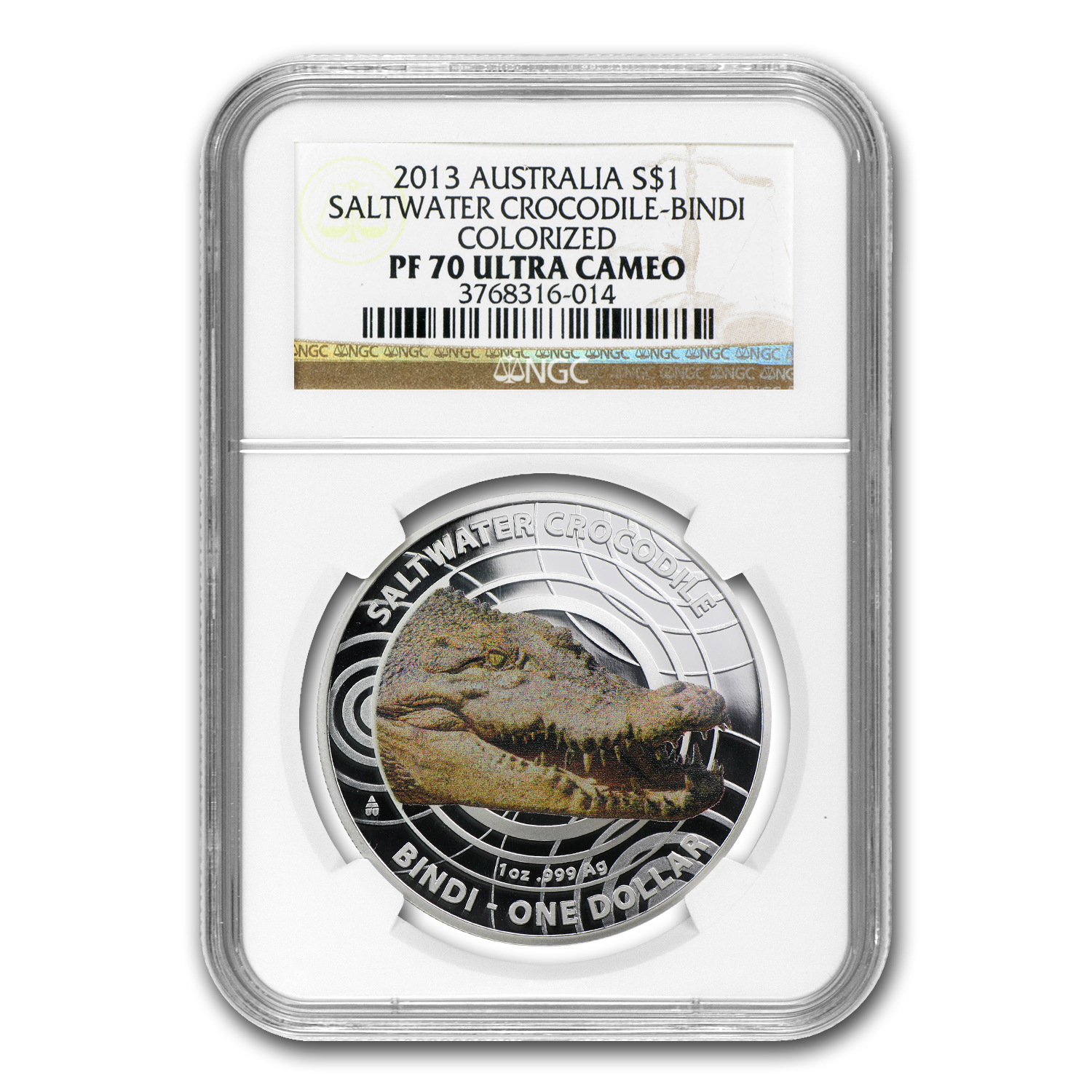 2013 Australia Silver Crocodile Bindi PF-70 NGC (Colorized)