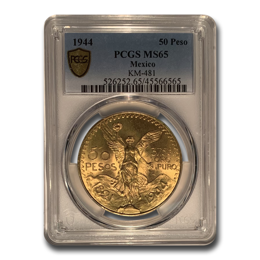 Mexico 1944 50 Pesos Gold Coin - MS-65 PCGS (Secure Plus!)