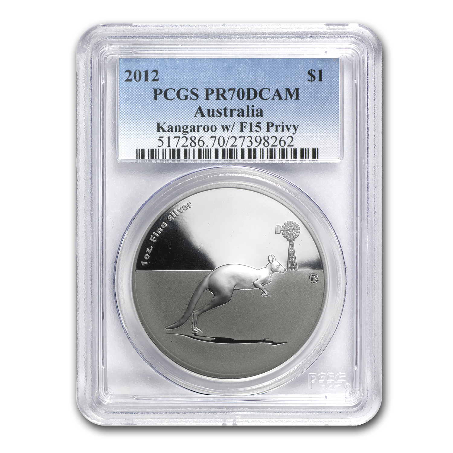 2012 1 oz Silver Kangaroo in Outback F15 Privy PR-70 PCGS