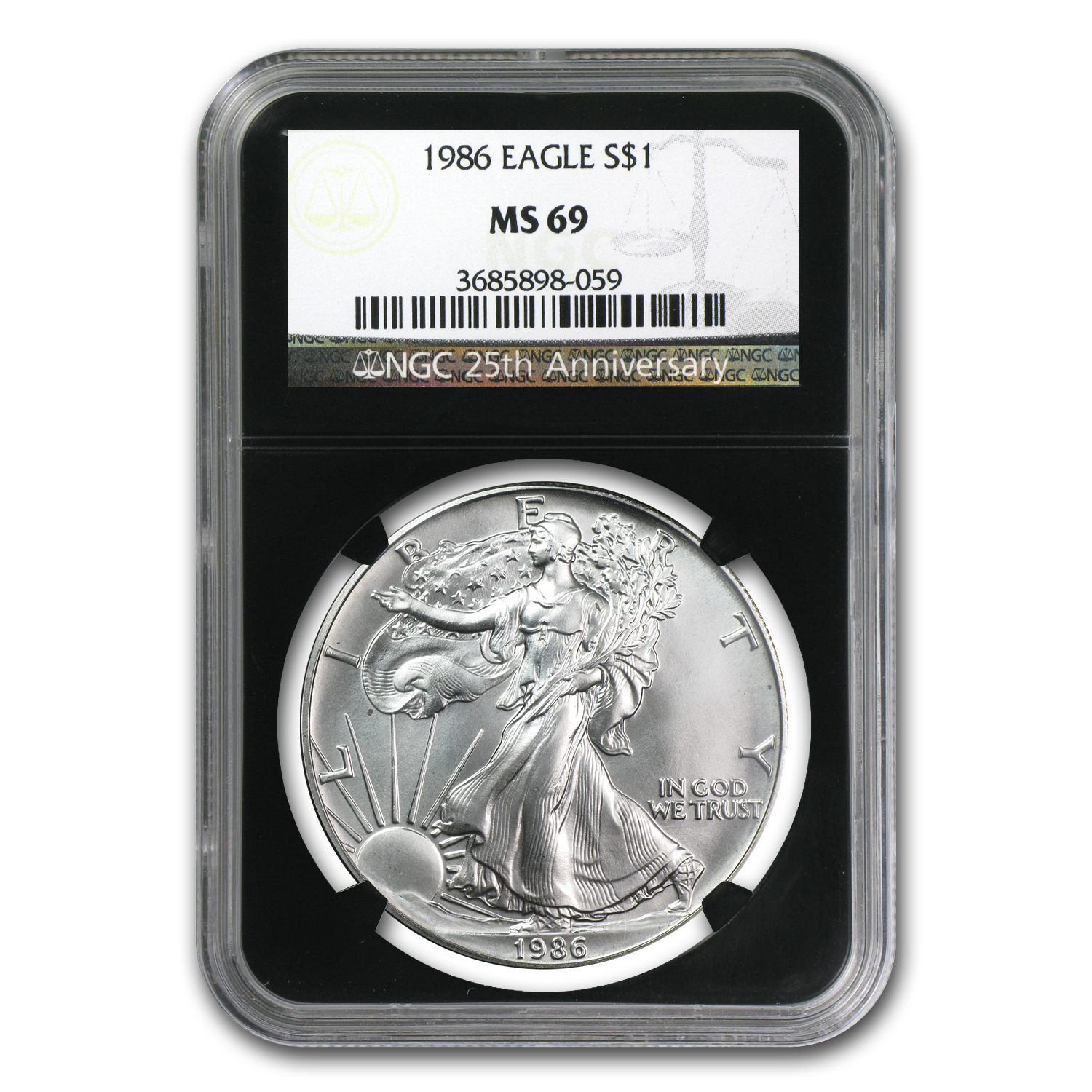 1986-2012 Silver Eagle Set - MS-69 NGC - 25th Anniv w/Wood Box