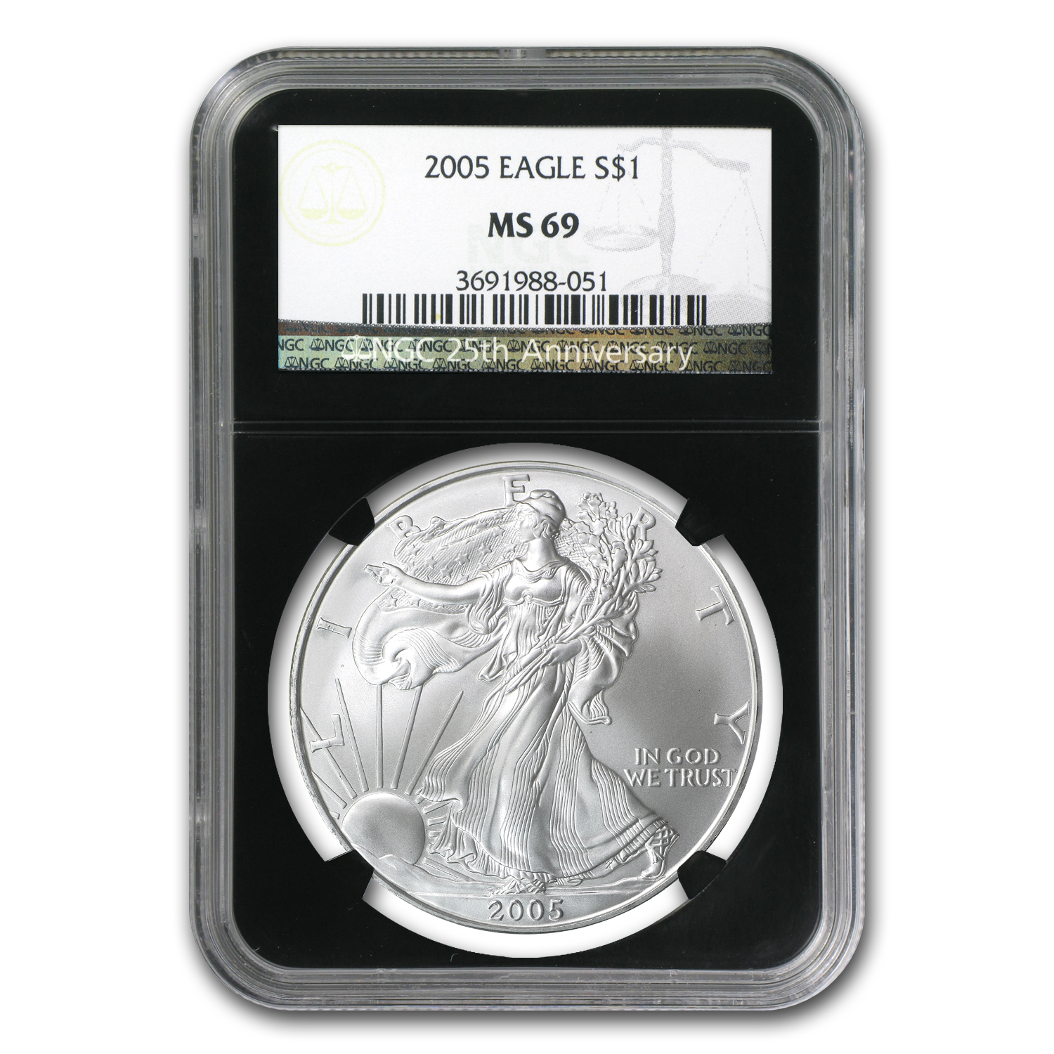 1986-2012 27-Coin Silver Eagle Set MS-69 NGC (25th Ann, Wood Box)