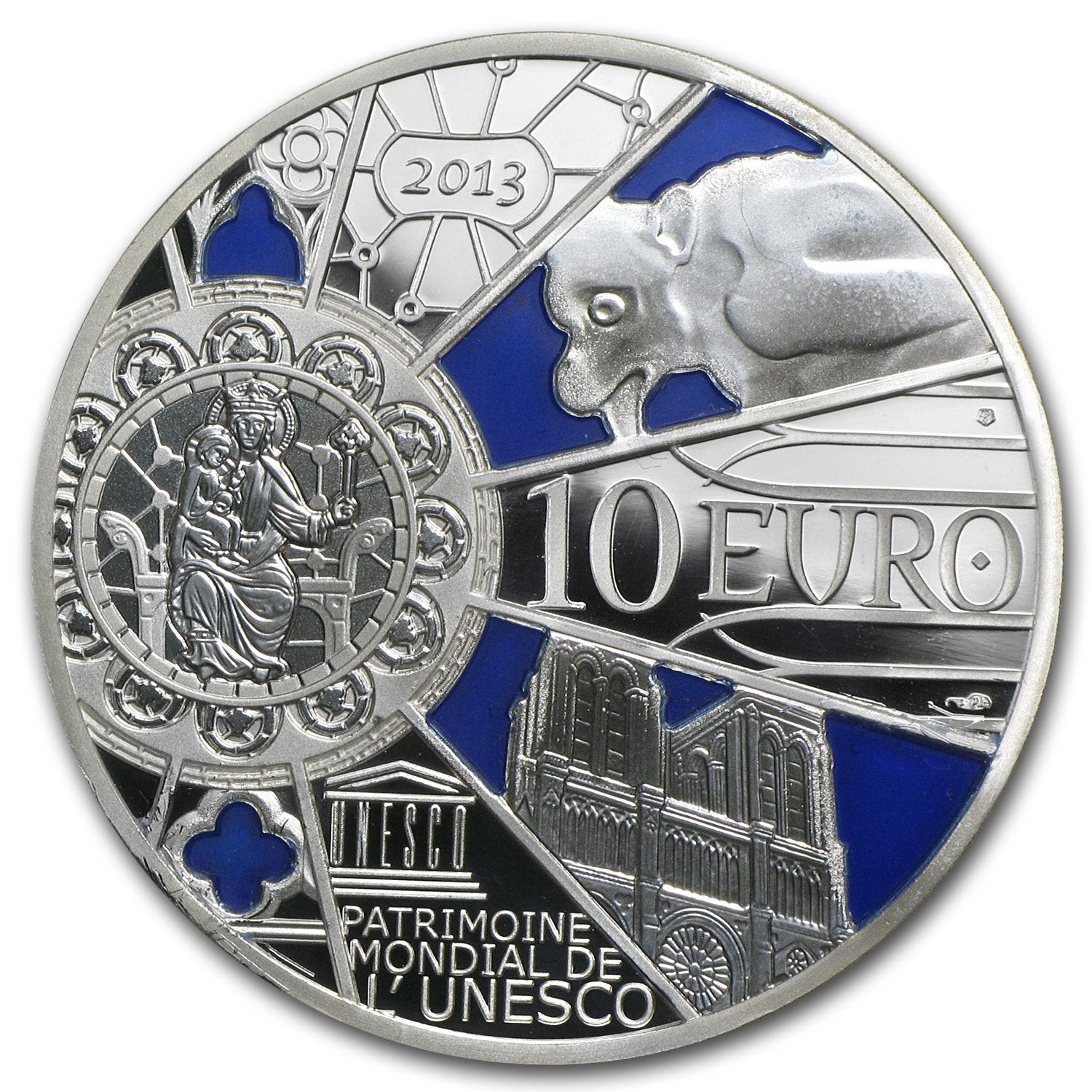 2013 €10 Silver Proof UNESCO-850th Anniv. Notre Dame de Paris