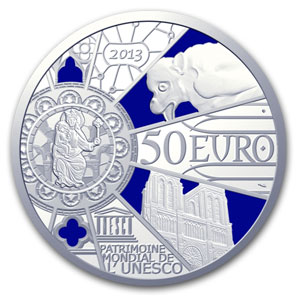 2013 5 oz Silver Proof UNESCO-850th Anniv. Notre Dame de Paris
