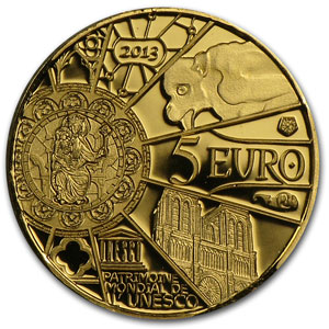 2013 1/2 gram Gold Proof UNESCO-850th Anniv. Notre Dame de Paris
