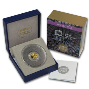 2013 1/2 gram Proof Gold UNESCO 850th Anniv Notre Dame de Paris