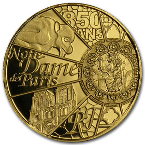 2013 1/2 gram Proof Gold UNESCO (850th Anniv Notre Dame de Paris)