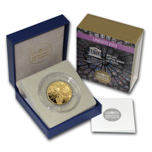 2013 1/4 oz Gold Proof UNESCO-850th Anniv. Notre Dame de Paris