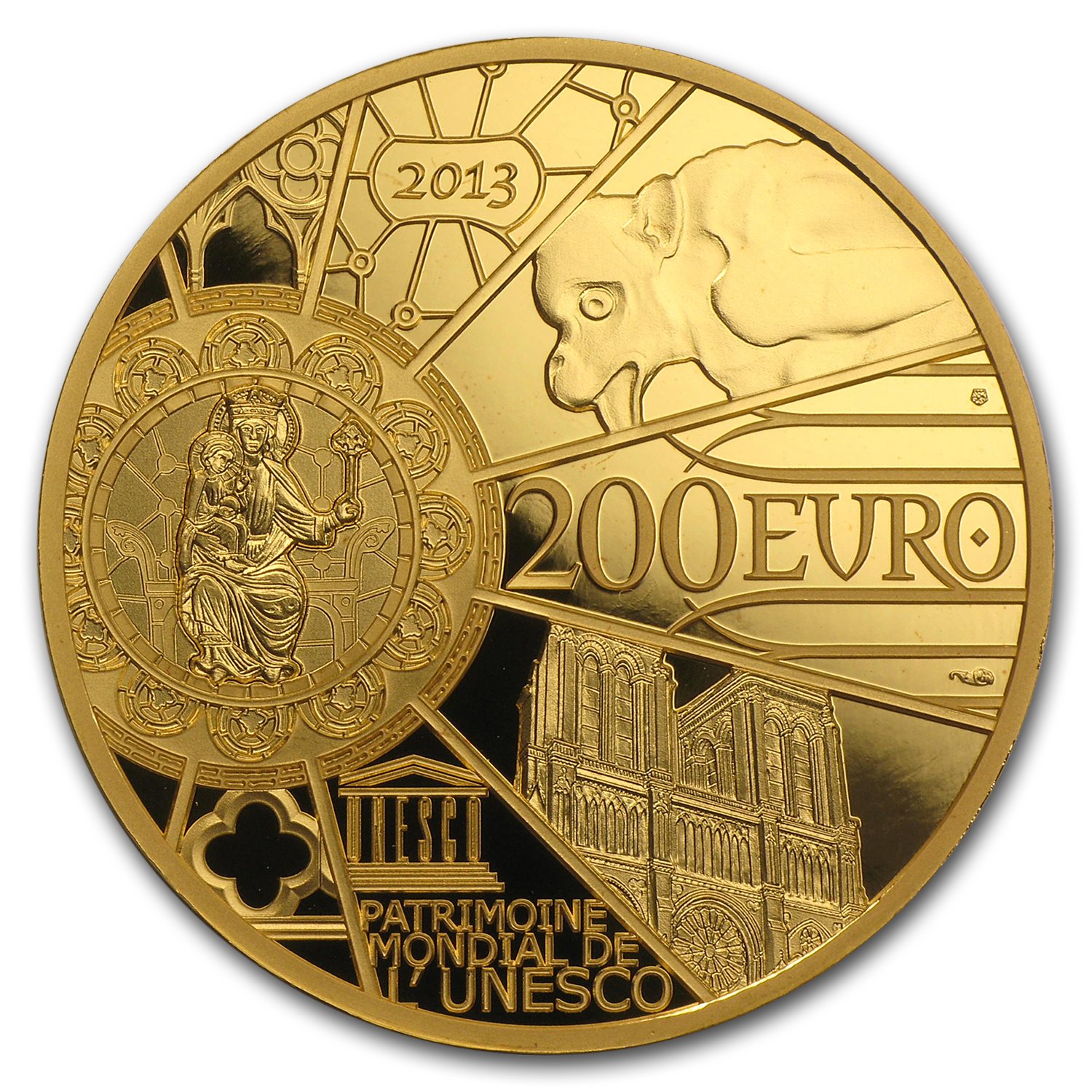 2013 1 oz Proof Gold €200 UNESCO (850th Anniv Notre Dame)