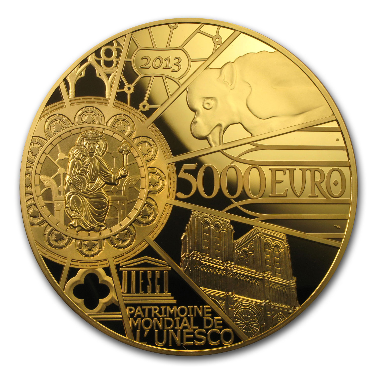 2013 1 kilo Prf Gold €5000 UNESCO 850th Anniv Notre Dame (12/23)