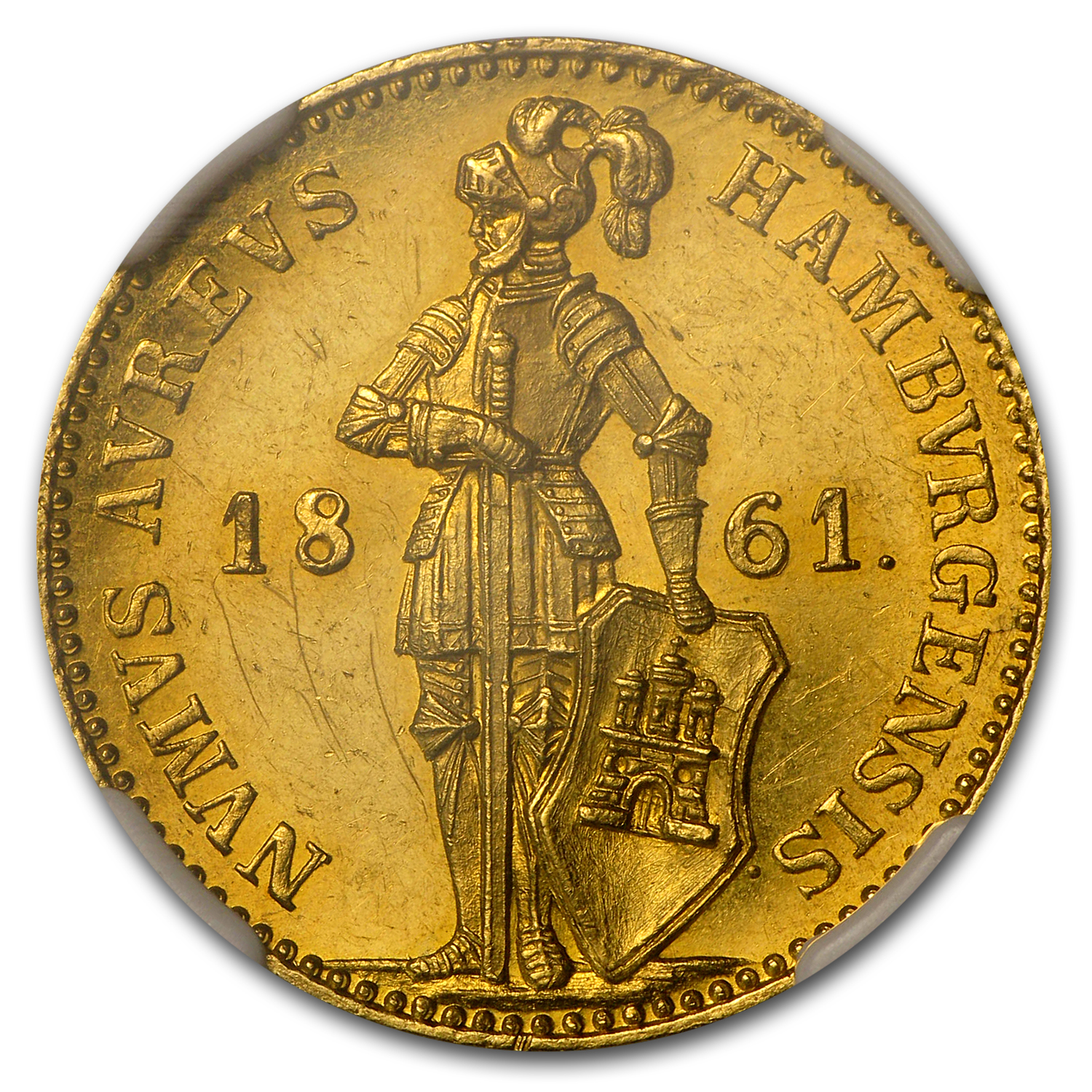 1861 Hamburg Gold Ducat MS-62 NGC
