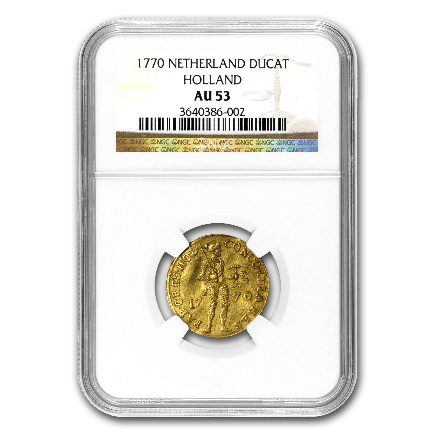 Netherlands (Holland) 1770 Gold 1 Ducat Coin NGC AU-53