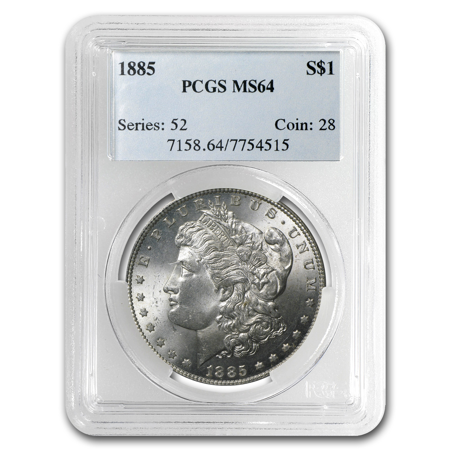 1885 Morgan Dollar MS-64 PCGS