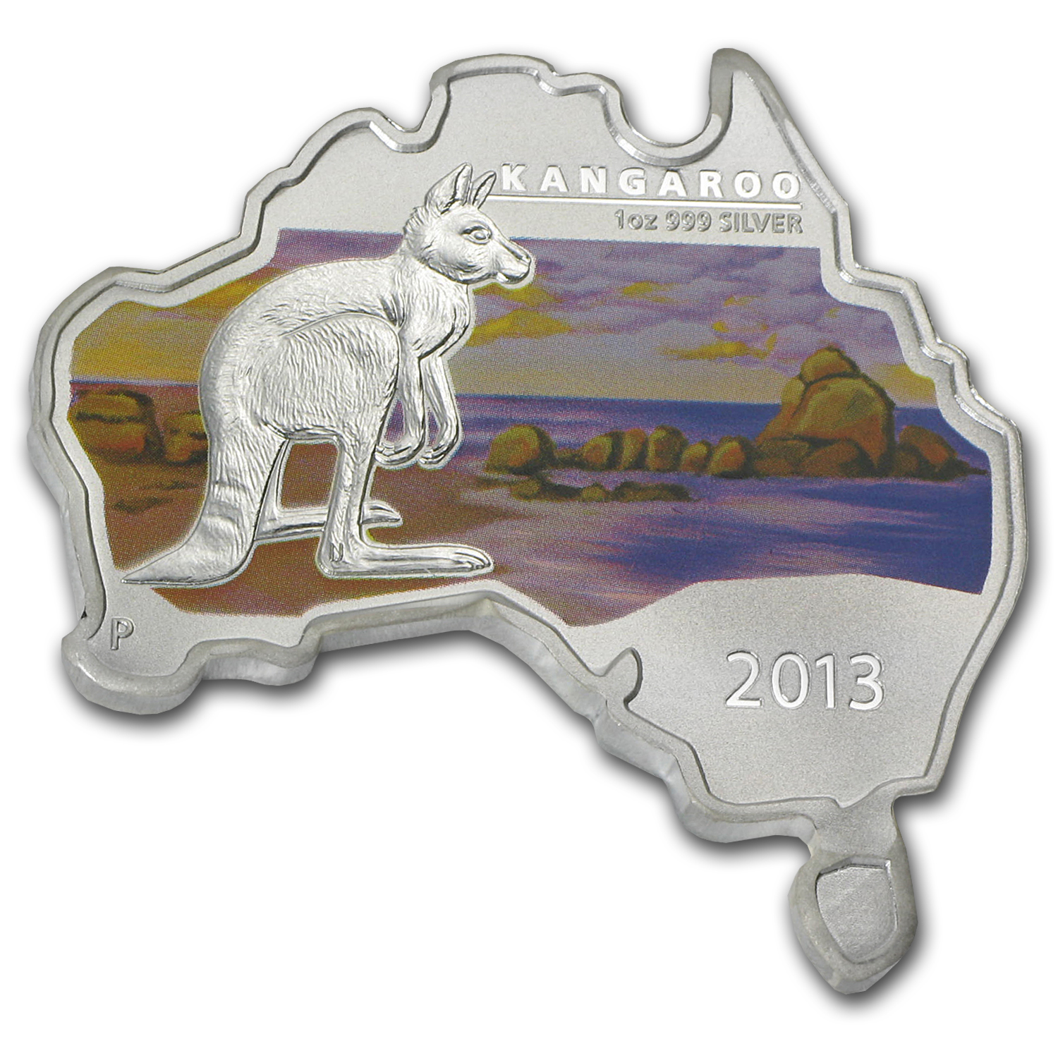 2013 Australia 1 oz Silver Kangaroo (Map Shape)