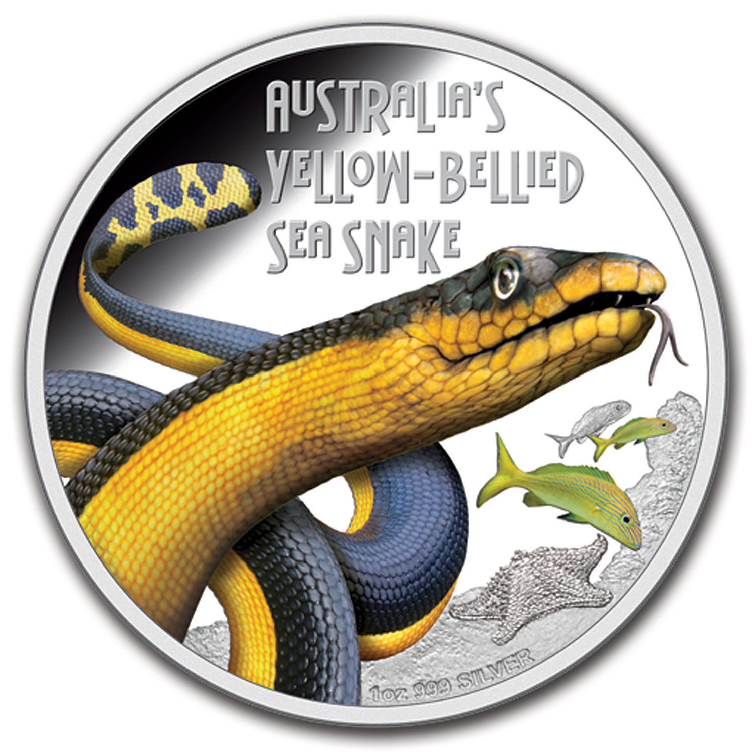 2013 Tuvalu 1 oz Silver Yellow-Bellied Snake Proof