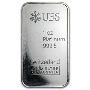 1 oz Platinum Bar - UBS (Switzerland)