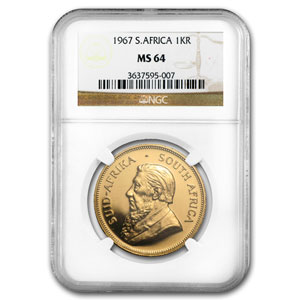 1967 1 oz Gold South African Krugerrand MS-64 NGC