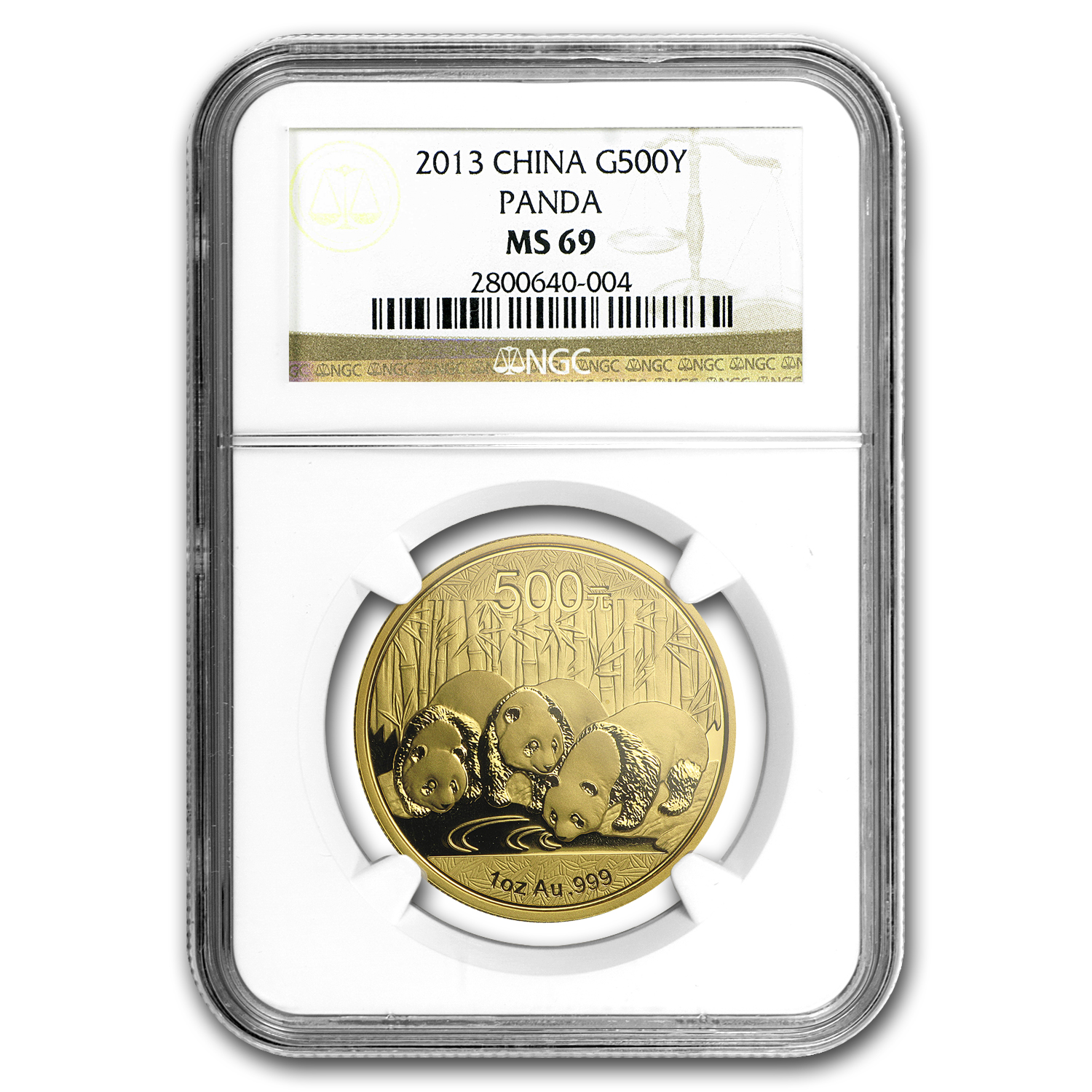2013 China 1 oz Gold Panda MS-69 NGC