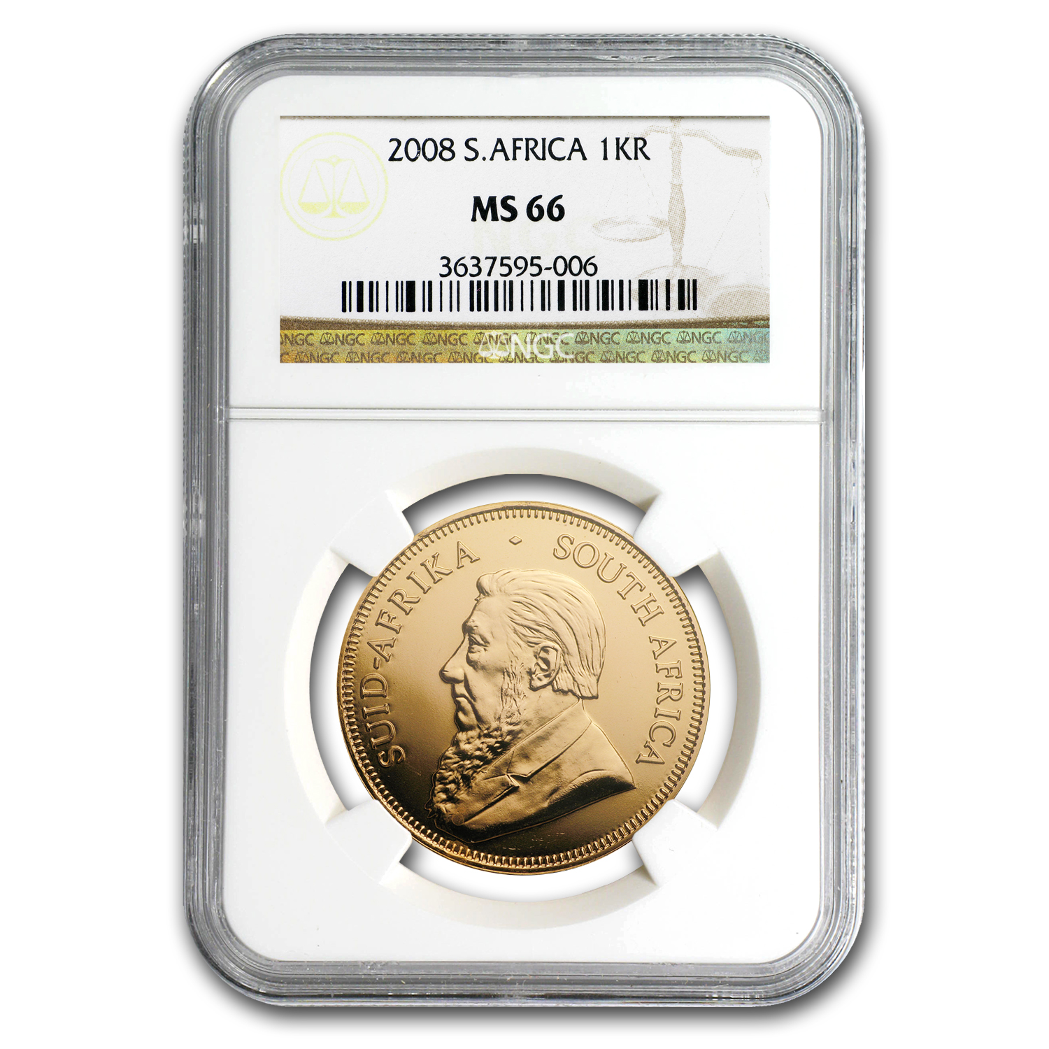 2008 1 oz Gold South African Krugerrand MS-66 NGC