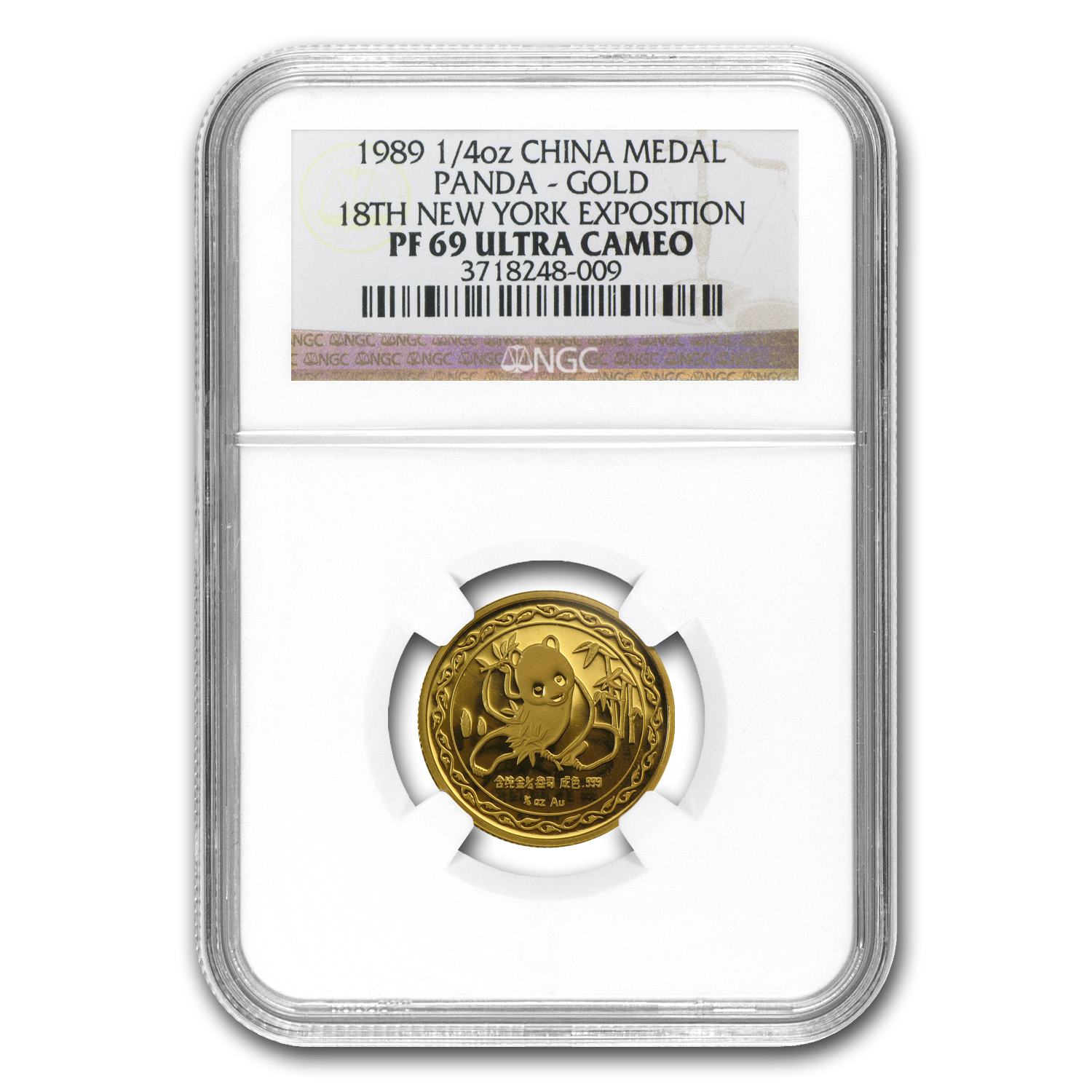 1989 China 1/4 oz Gold Panda Medal PF-69 NGC (New York Conv)
