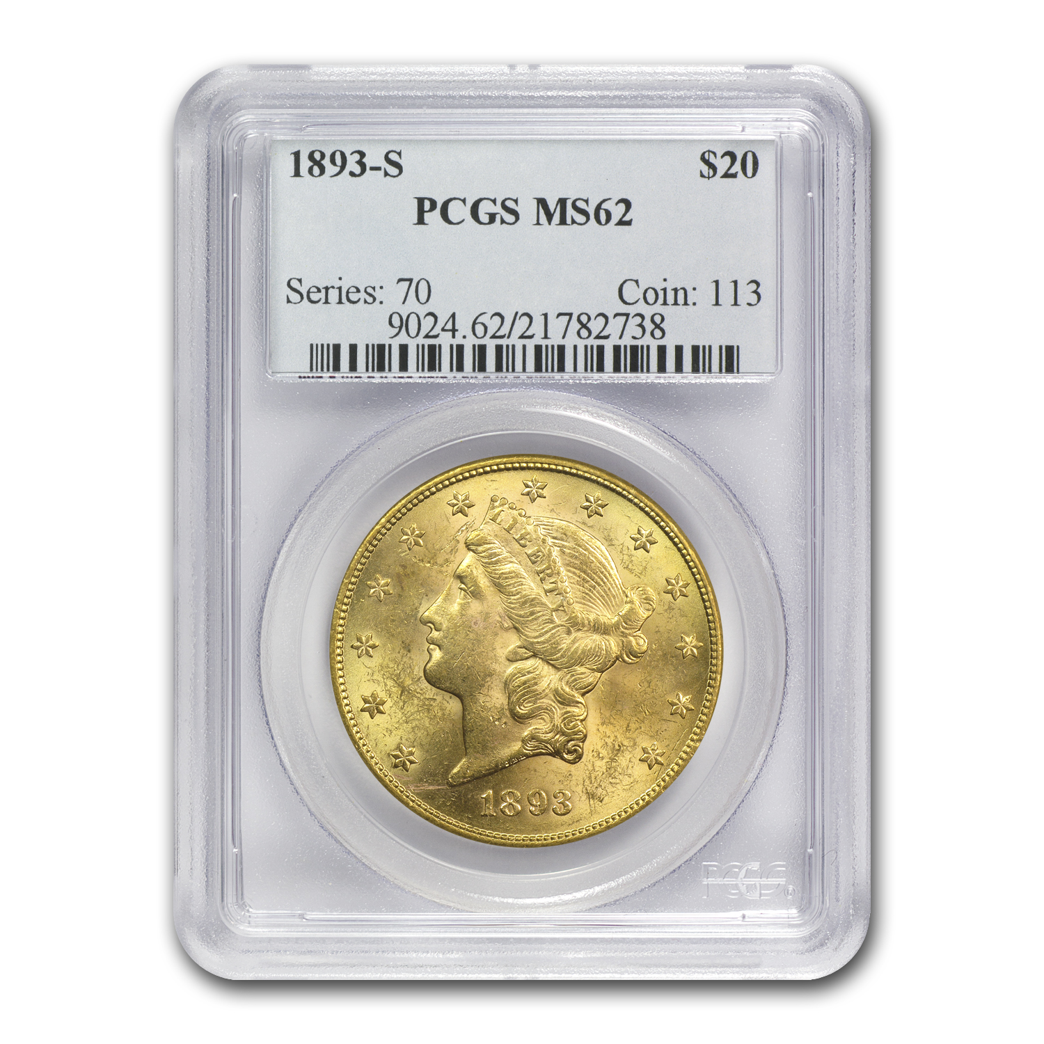 5-Coin $20 Gold Liberty Dble Eagle Set MS-62 PCGS (1800s S-Mint)