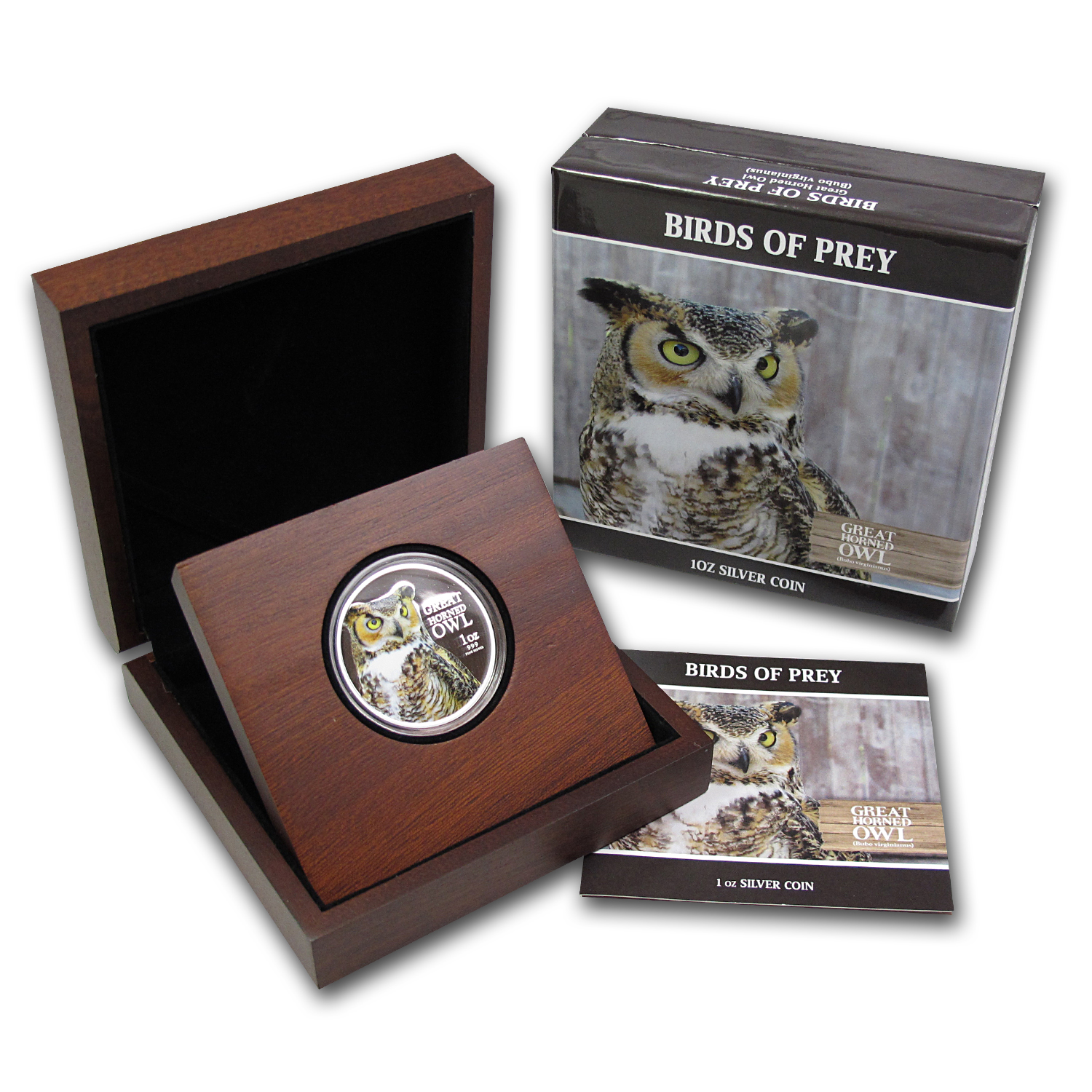 2013 1 oz Silver Niue Birds of Prey - Great Horned Owl