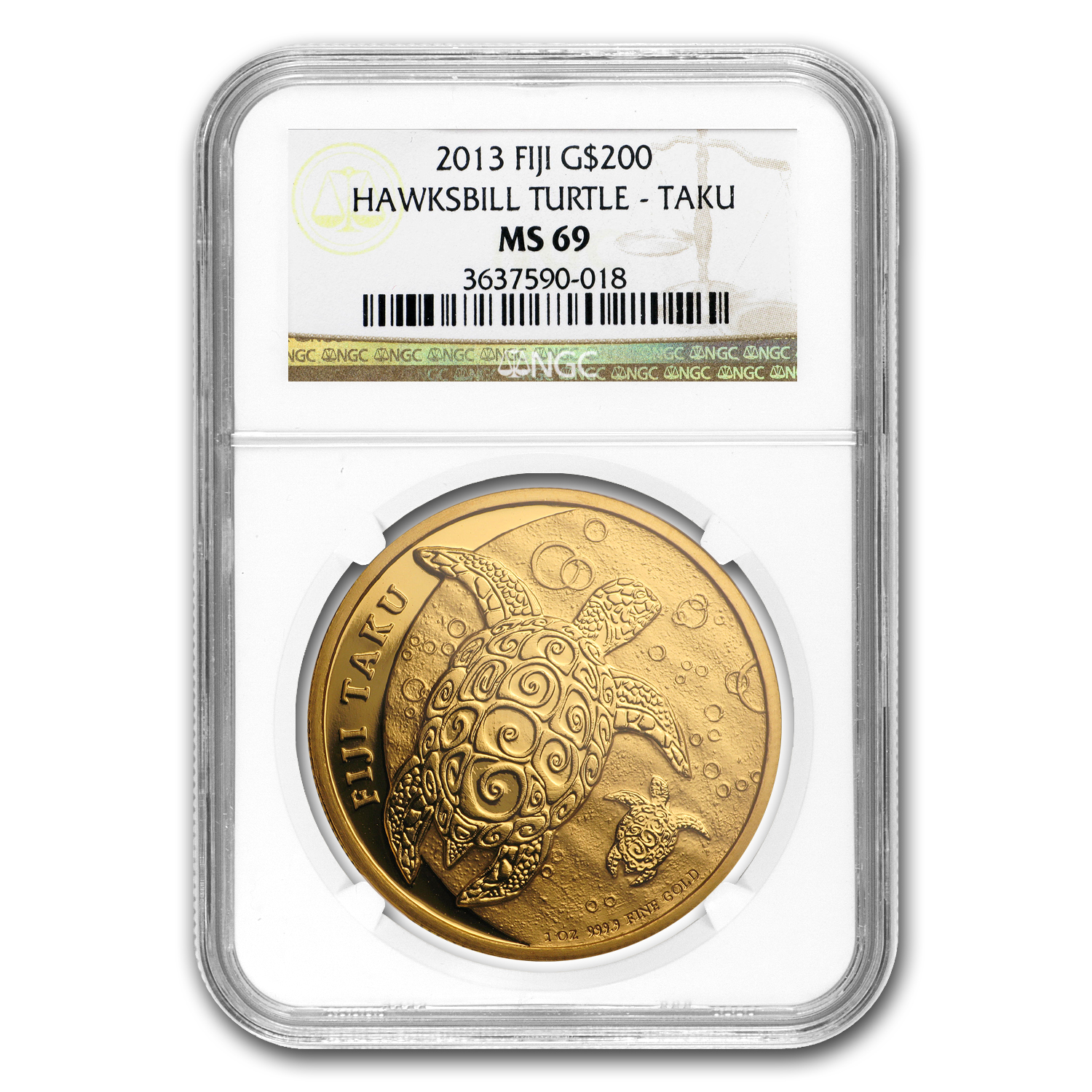 2013 1 oz .9999 Gold New Zealand Mint $200 Fiji Taku MS-69 NGC