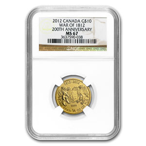 2012 Canada 1/4 oz Gold $10 War of 1812 MS-67 NGC