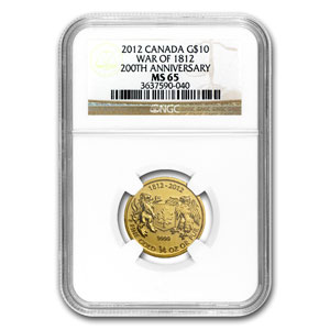 2012 Canada 1/4 oz Gold $10 War of 1812 MS-65 NGC