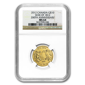2012 1/4 oz Gold Canadian $10 - War of 1812 - MS-64 NGC