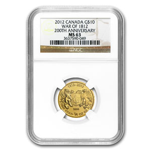 2012 Canada 1/4 oz Gold $10 War of 1812 MS-63 NGC