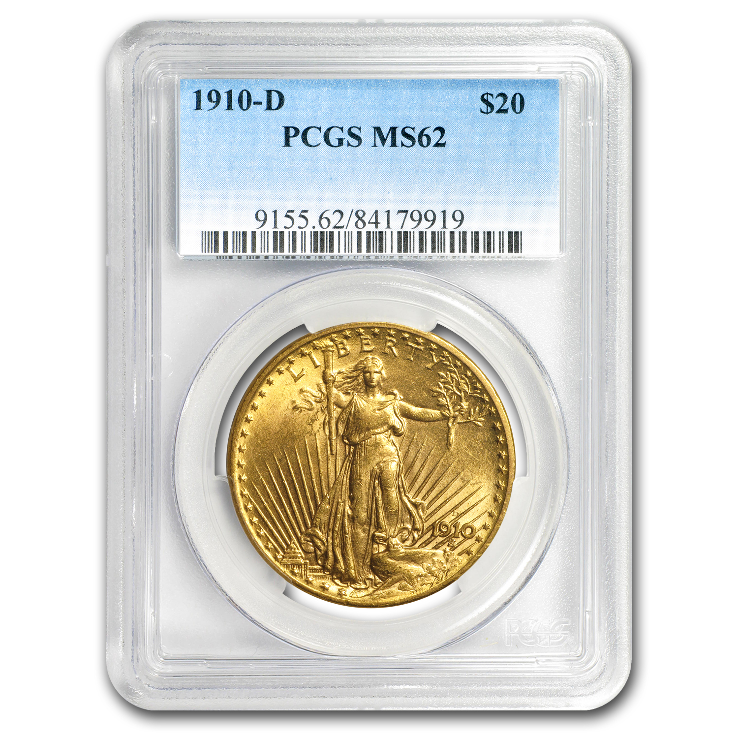 1910-D $20 St. Gaudens Gold Double Eagle MS-62 PCGS