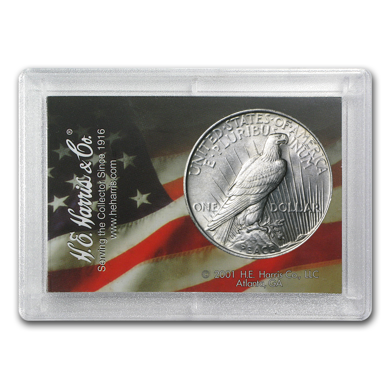 Peace Silver Dollar Harris Holder (Dove & Flag Design)
