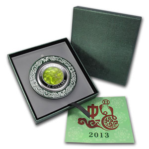 2013 Cook Islands 5 oz Silver Mother of Pearl Year of the Snake